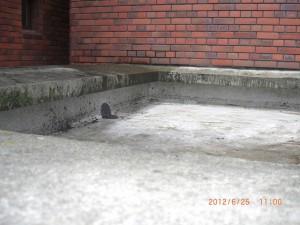 排水の詰まりによって雨水が溜まっていたことがわかる線が壁面についています